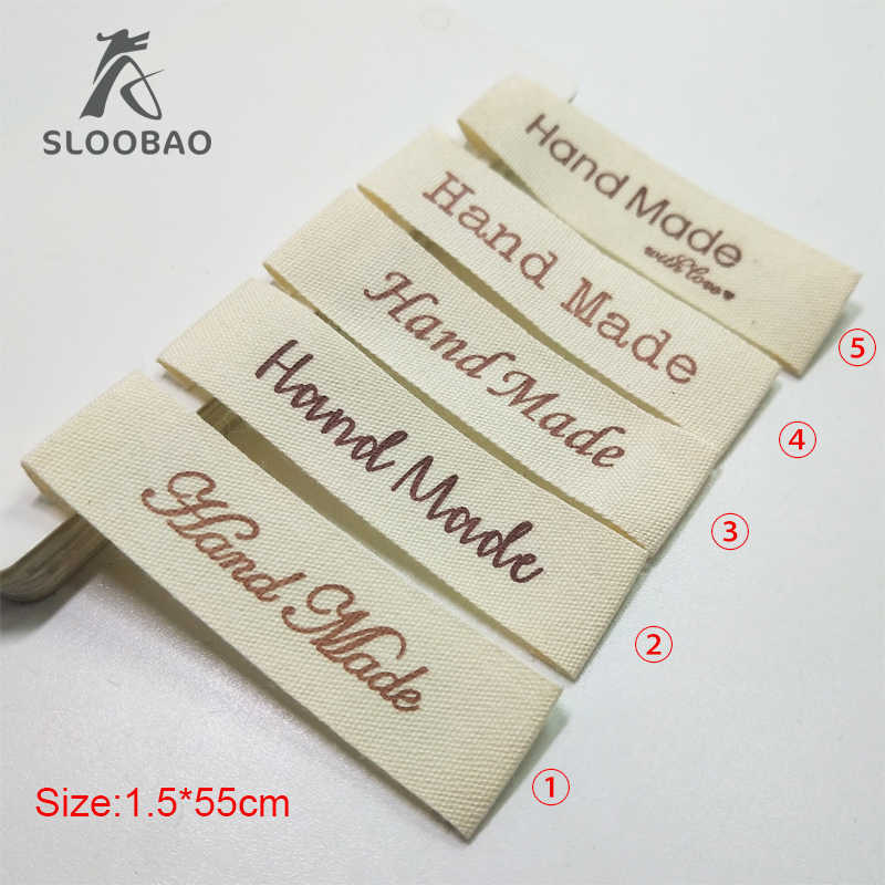 Saham Mix 100 Pcs Hand Made Cotton Printed Label Utama Label Jahit Custom Pakaian Kategori Pakaian Tas Sepatu Printed Label