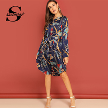 Sheinside Chain Printed Shirt Dress Women Casual Midi Dresses 2019 Straight  Dress ce5beff6ad7b
