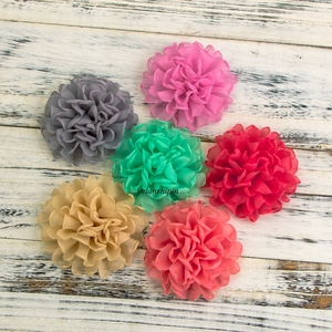 """1PC 4"""" 20colors Newborn Burned Edge Chiffon Hair Flowers Clips For Hair Accessories Artificial Fabric Flowers For Headband(China)"""
