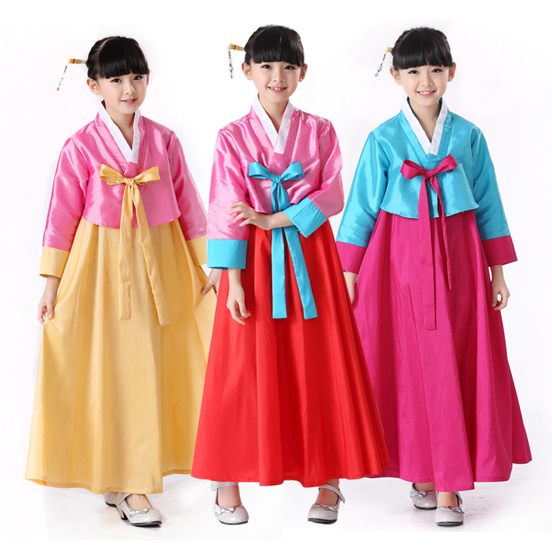 High Qulaity Girls Korean Hanbok Clothing Children Traditional Hanbok Dress Dance Costume