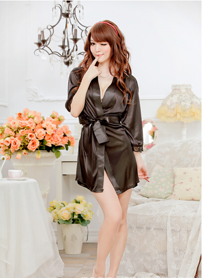 Sexy Lingerie Women Lace Satin Kimono Long Sleeve Solid Color Bathing Robe Erotic Sleepwear With Slash Thong vestidos femininos