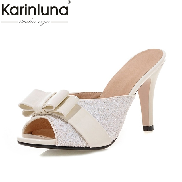 KarinLuna New Big Size 32-43 Sweet Bow Summer Party Woman Shoes Women Sexy  Bling Upper Mules Pumps Shoes Footwear 8e63ba0e6e74
