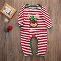 2016 Meninos Das Meninas Do Bebê Roupas de bebê Recém-nascido Infantil Bebes Natal Listrado Romper Crianças Natal Roupas Traje 0-24 M
