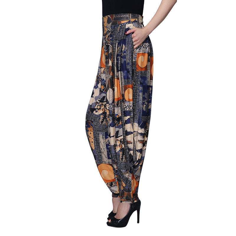 summer national wind large size loose pants  thin wide leg pants harem pants female printed trousers elastic waist pants female