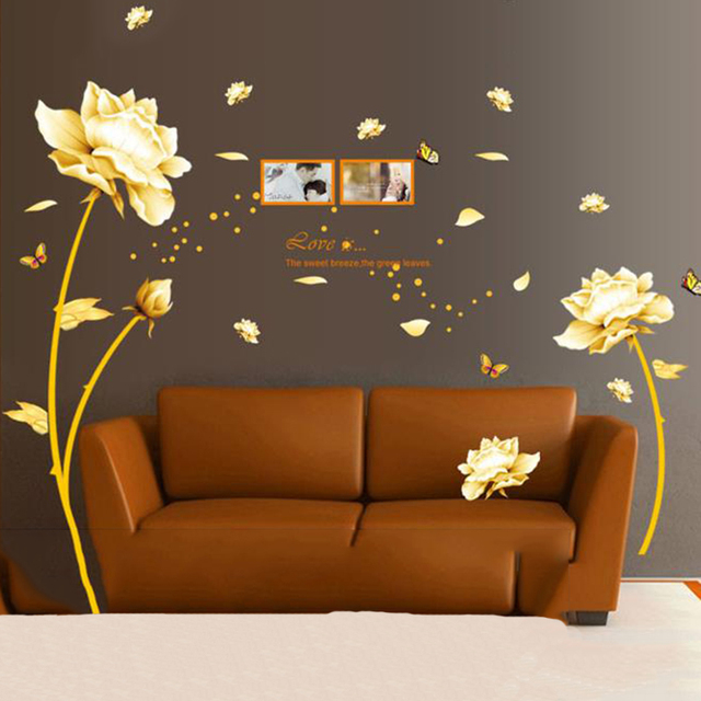 Diy Erfly Sticker Muraux Pvc Wall Stickers Flowers Home Decor Living Room Gldern Tulip Posters Adesivo De Parede Decal