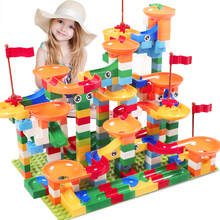 52-296 PCS Marble Race Run Maze Ball Track Building Blocks ABS Funnel Slide Assemble Bricks Compatible LegoINGlys Duplo