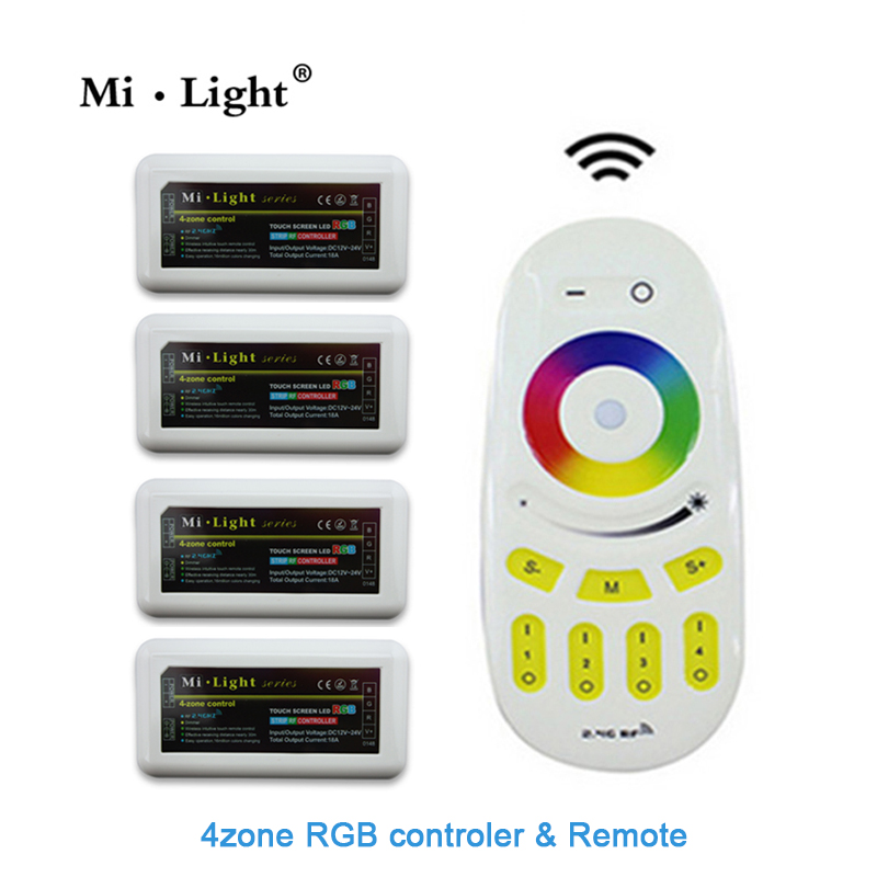 Mi.light Wireless 2.4G 4-Zone RGB Touch tone remote control for led strip RF Wifi dimmable Controller rgb controller wireless rgb led controller w touch round remote control white