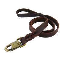Luxury Large Dog Leather Leash Dog Training Leash Pet Rope Training Walking Genuine Leather Dog Leash