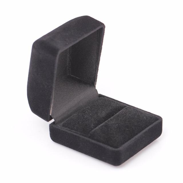 Zaręczyny naszyjnik pierścionek bransoletka Biżuteria wyświetlacz Gift Square Box czarny niebieski aksamit Storage Organizer sprawa Shellhard