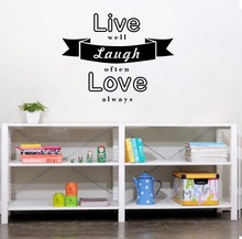 YOYOYU Wall Decal Live Laugh Love Stickers Waterproof Window Decals Ribbon decorate Salon Decor Removable InteriorZX036