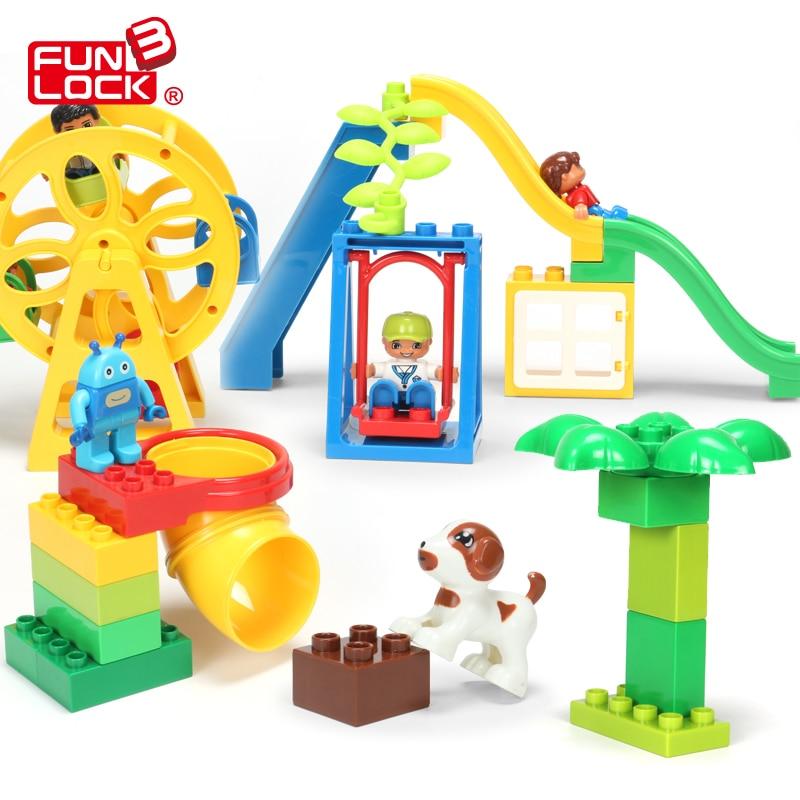 Funlock Duplo Funny Legeplads Legetøj Blokke Sæt med Ferri Wheels - Konstruktionslegetøj