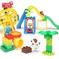 Funlock Duplo Funny Playground Toys Blocks Set with Ferri Wheels Slide Swing Ladder Kids Creative Educational Building Toys Game