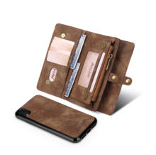 Zipper Wallet Case Luxury Leather Multifunctional Business  Detachable Magnetic Back Cover For oneplus 7