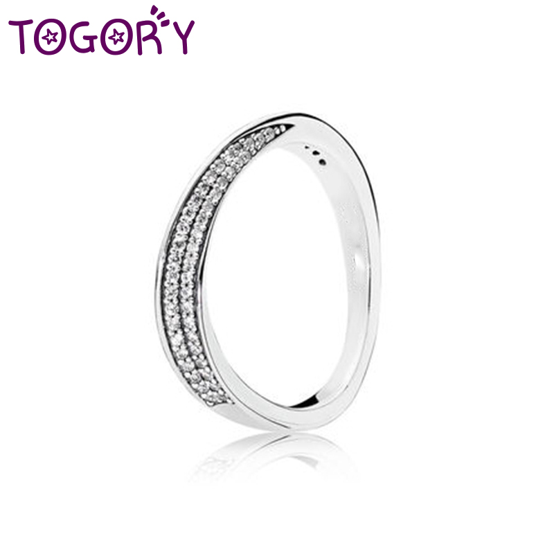 TOGORY Silver Plated Elegant Wave Brand Ring Wheat Wave & Clear CZ Finger Rings for Women Fashion Jewelry