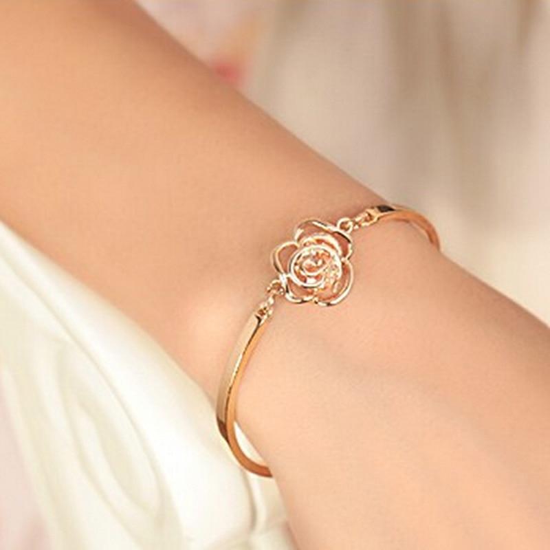 1Pcs Rose Flower Crystal Bracelet Hand Chain Women Hand ...