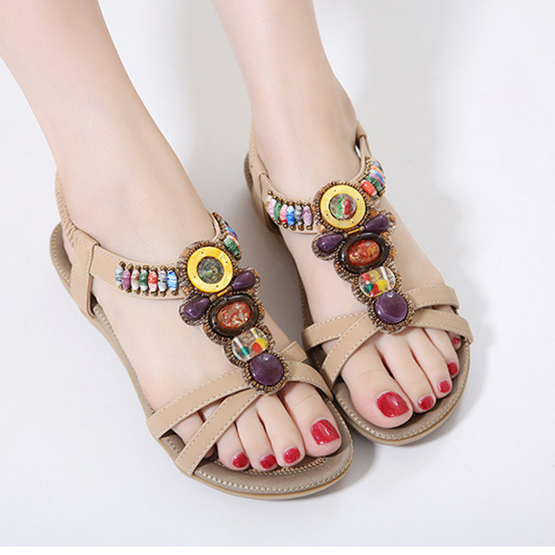 Bohemia Women Summer Sandals Gladiator String Bead Beach Casual Flat Sandals Leisure Female Ladies Footwear Women Shoes DC45 casual bohemia women platform sandals fashion wedge gladiator sexy female sandals boho girls summer women shoes bt574