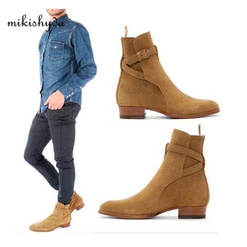 2016 Hot Men Suede Men Boots New Handmade Crepe Bottom Kanye West Boots Martin Shoes Nubuck Chelsea Boots Season Ankle Men Shoes justin bieber fear of god ankle boots 100% genuine leather kanye west boots men casual shoes fog platform botas knight boots
