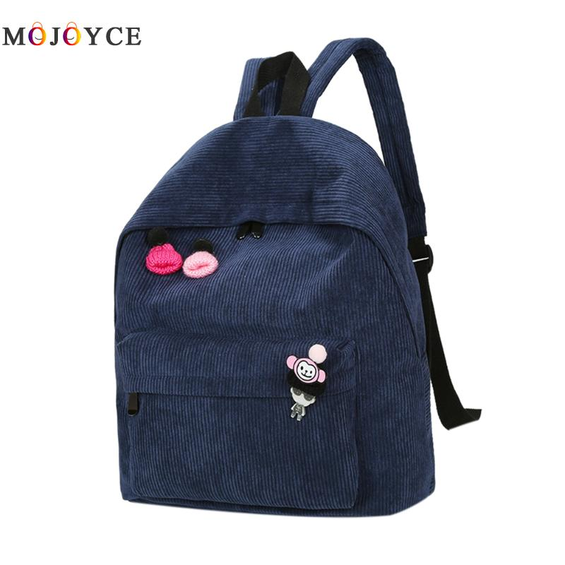 Newest Solid Corduroy Backpack Women Simple Daily Backpack School Bags For Teenager Girls Travel Bag Students Book Bag women backpack 2016 solid corduroy backpack simple tote backpack school bags for teenager girls students shoulder bag travel bag