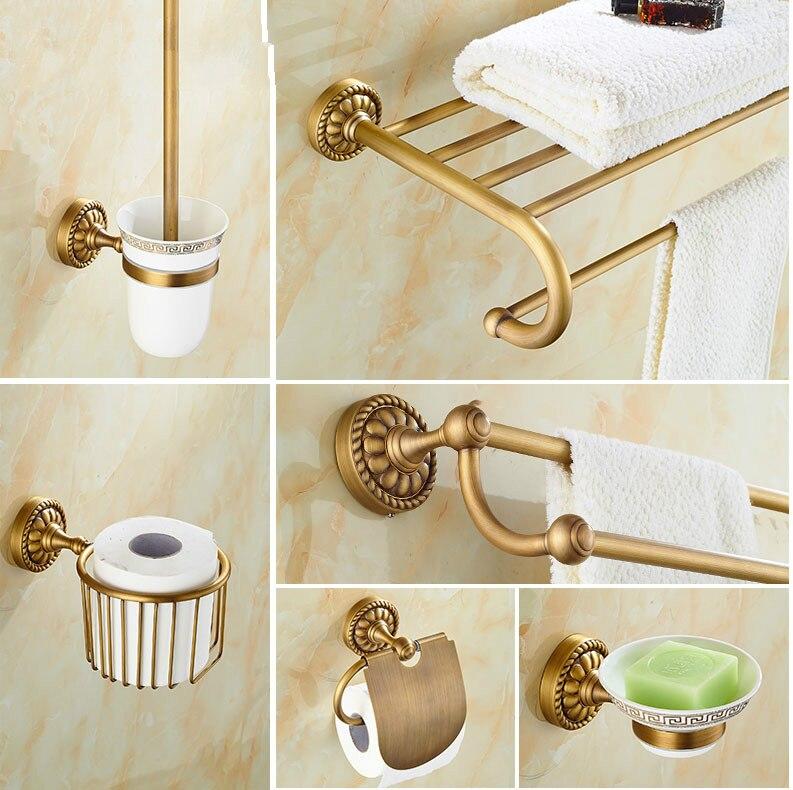 ottone antico intagliato accessori per il bagno set spazzolato finito appeso accessori bagno fissato al muro