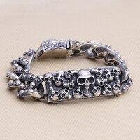 Ручной работы Таиланд 925 серебряный браслет со скелетом Винтаж Череп из серебра голова браслет в стиле панк чистого серебра мужской брасле
