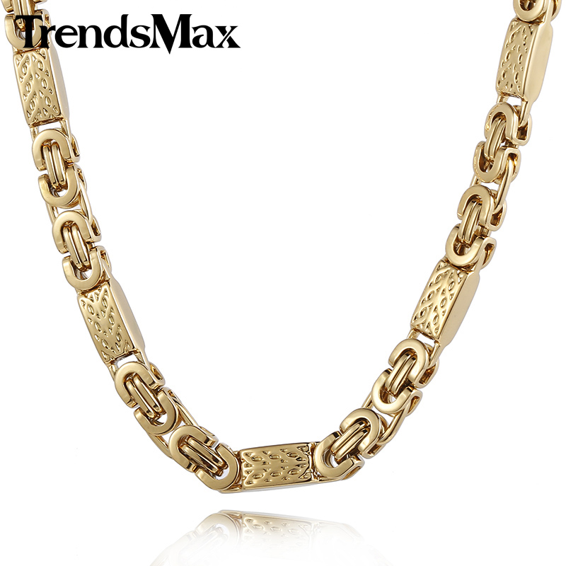 Trendsmax Customize ANY Length 6mm Wide Gold Color Byzantines