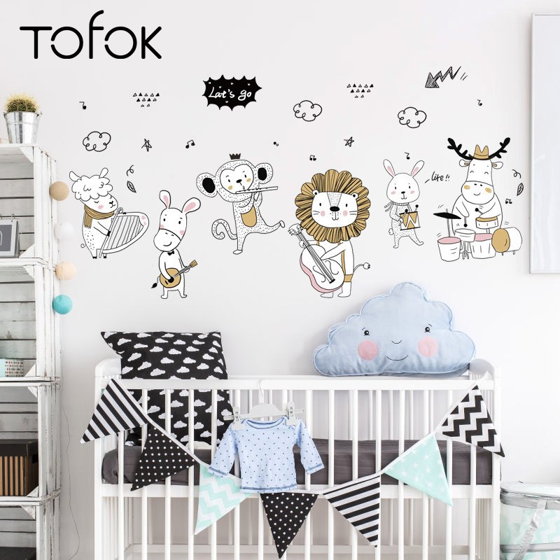 Tofok Cartoon Animal Music Band Wall Sticker Children Room Nursery Mural Decals Waterproof Home Door Cabinet Decoration Poster