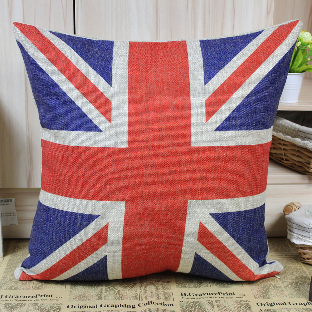 43CM CUSHION COVER UNION JACK RED WHITE BLUE 17/""