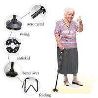 Hitorhike Led Light Oldman Folding Trekking Poles T Handle Man Hiking Poles Cane Walking Stick For
