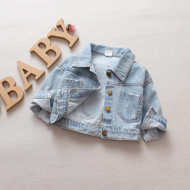 2019 Spring Autumn Baby Girls Denim Jeans Jacket Cartoon Long Sleeve Lapel Collar Casual Children Kids Outerwear Coat casaco