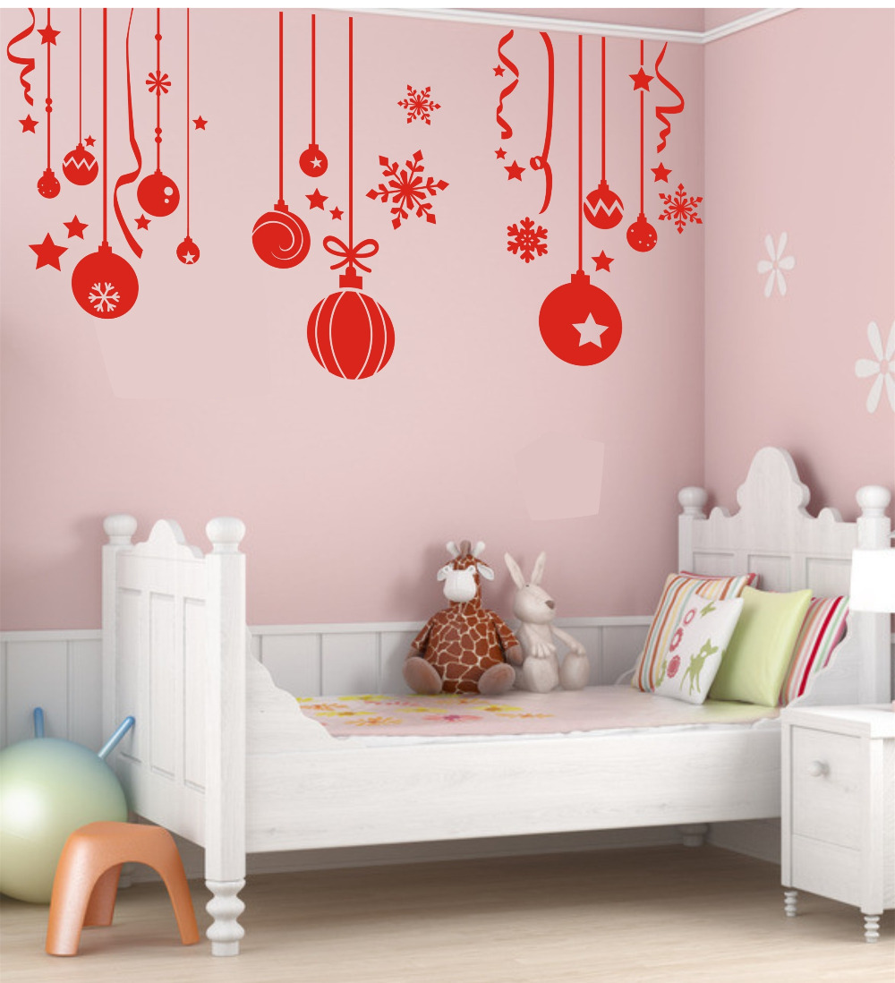 Charmant Free Shipping Christmas Ball Wall Stickers Snowflake Bells Hanging Chain Wall  Decals Glass Sticker Home U0026 Garden Window Sticker In Wall Stickers From  Home ...