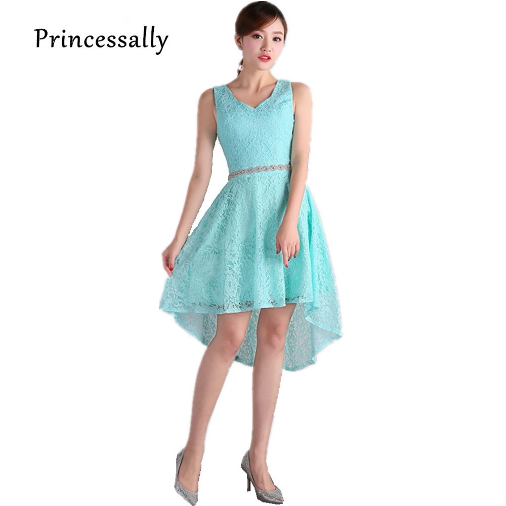 New Lace Bridesmaid Dress Short Front Long Back V neck Beading Royal ...