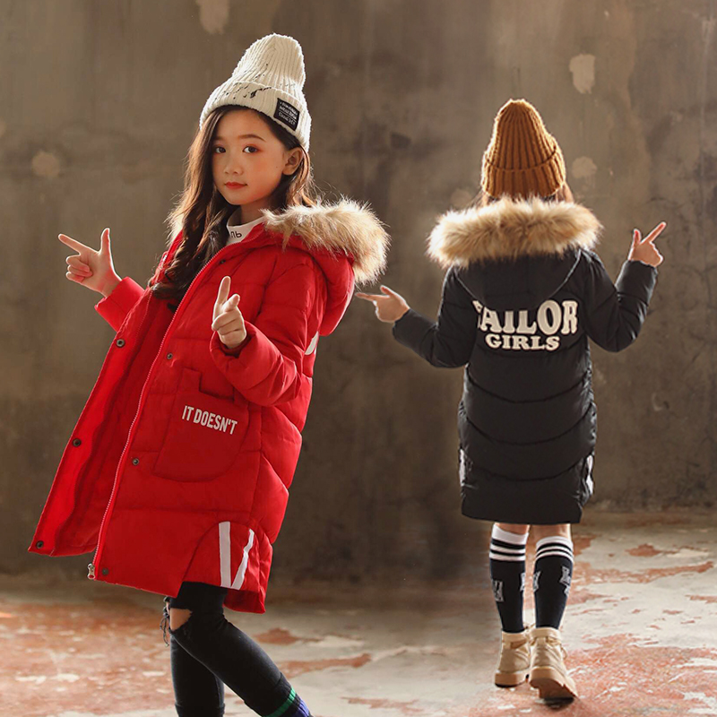 Russian winter 5-13 years Girls Winter coat Kids Outwear hooded Long Down warmth Fur collar split hem letter Personality pocket