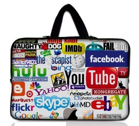 "Stylish Colorful Internet Protective Soft Carrying Sleeve Pouch Bag Inner Case with Handle for 15"" Laptop Tablet"
