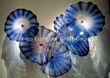 Free Air Shipping Romantic Blue Colored Hand Blown Glass Wall Plates Home Deco