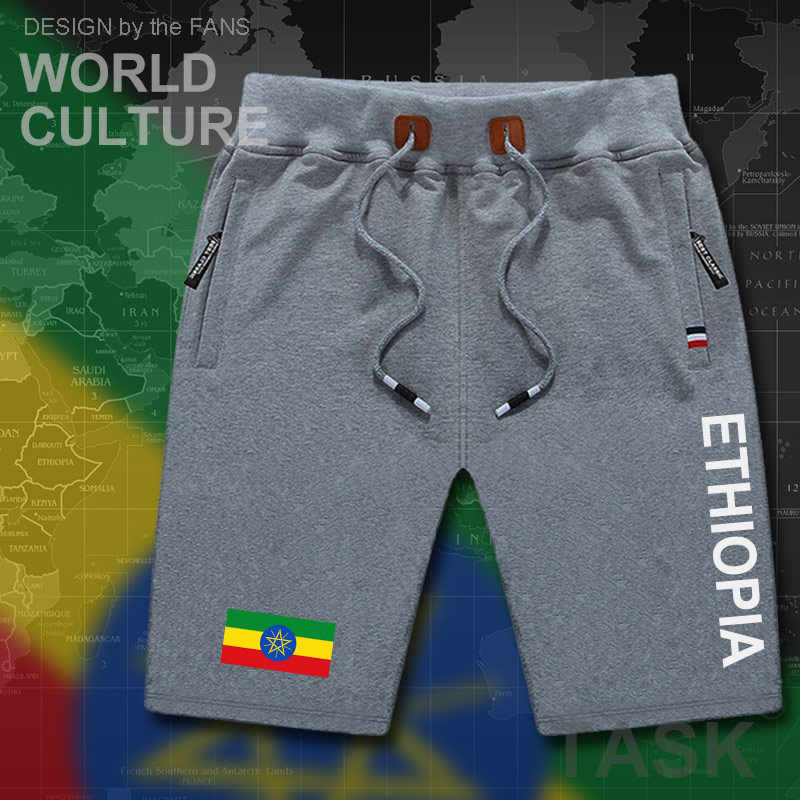 Ethiopia Ethiopian  mens shorts beach new men's board shorts flag workout zipper pocket sweat bodybuilding 2017 new Country ETH