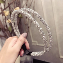 Full Drilling Double Thin Hairband Women Girls Hair Head Hoop Bands Accessories For Jewelry headband double fine side