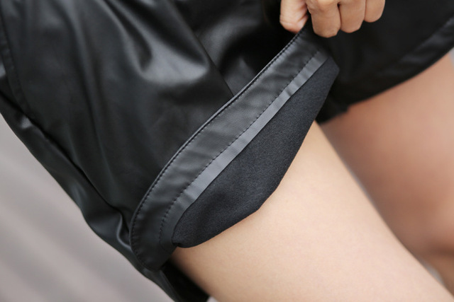 2017 New PU Leather Shorts Women's Black High Quality Short Pants With Pockets Loose Casual Short Summer Women  Plus Size Shorts 8