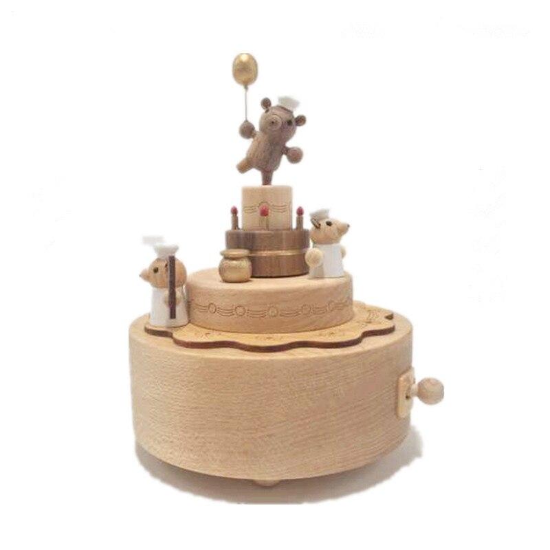 Boîte à musique mécanique carrousel cadeau d'anniversaire créatif boîte à musique en bois décoration de la maison noël vacances cadeau boîte à musique