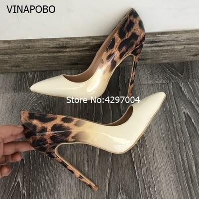 Vinapobo 2018 New sexy night club party wedding shoes women Leopard print thin high heels slip