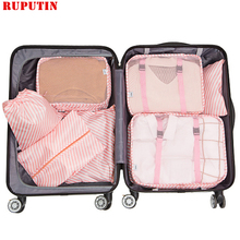 RUPUTIN 7PCS/Set Travel Mesh Bag In Suitcase Luggage Organizer Packing Cube High Quality Clothes Sorting BagTravel Accessories