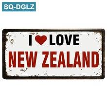 [SQ-DGLZ] exclusivo I Love NEW ZEALAND matrícula para Bar decoración de pared letrero de estaño Vintage Metal letrero pintado placas Póster