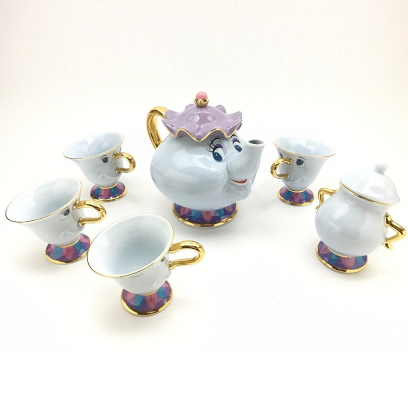 Beauty And The Beast Teapot Mug Mrs Potts Chip Tea Pot Cup Set Sugar Bowl Pot Gift 18K Gold-plated Painted Ceramic Fast Post