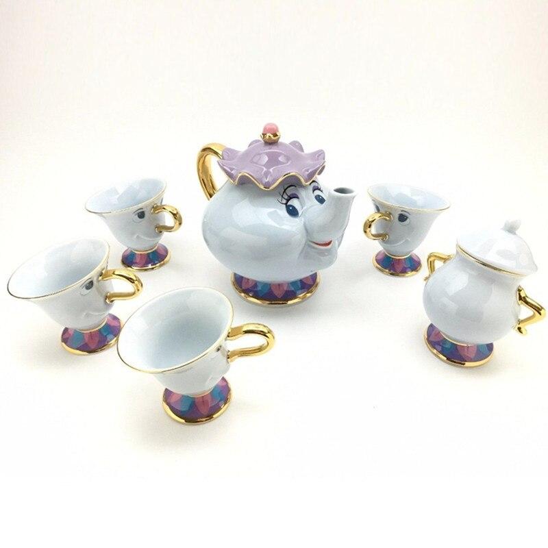 Ev ve Bahçe'ten Çay Takımı Setleri'de Güzellik ve beast Çaydanlık Kupa Bayan Potts Çip demlik Fincan Seti şekerlik Pot Hediye 18K Altın kaplama boyalı Seramik Hızlı Sonrası title=