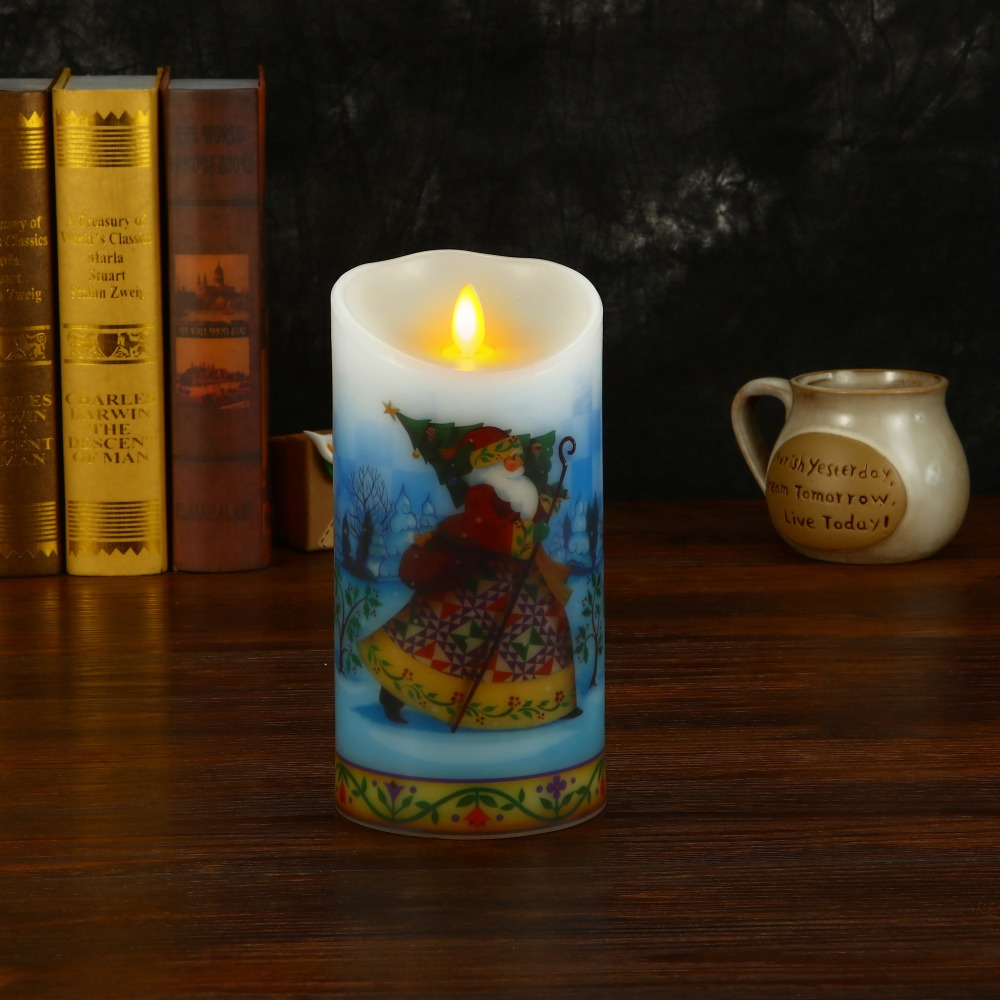 Ksperway Flameless Real Wax LED Candle with Dancing Flame Blowing Control Timer and Remote 3.5*7 inch Christmas Man