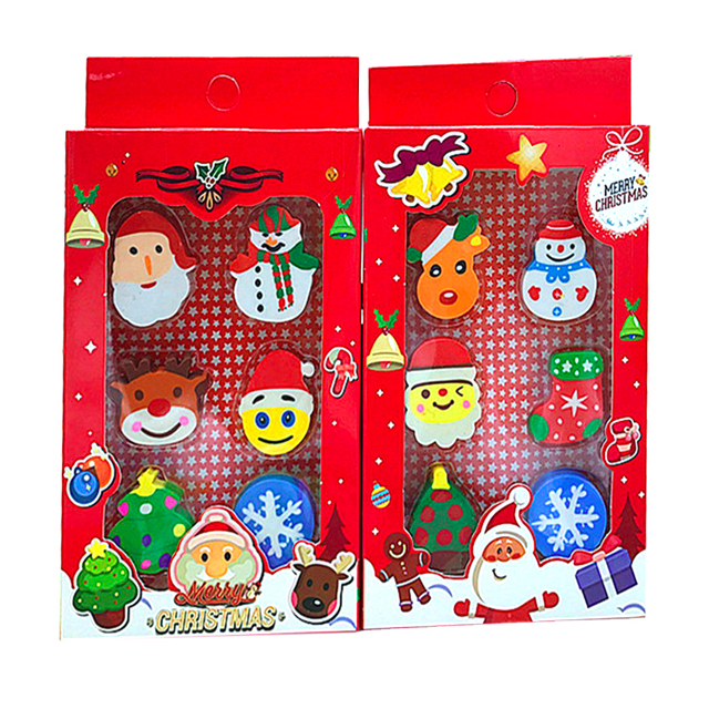 2 Pcs Creative Stationery Cute Cartoon Christmas Grandpa Eraser