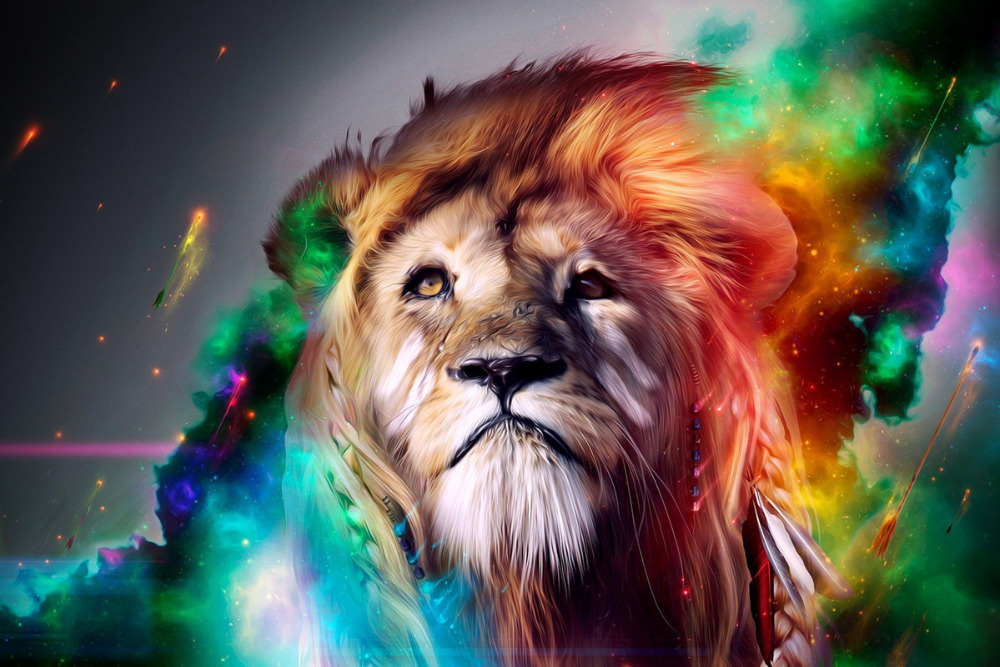 artistic lion animal poster canvas printing colorful art