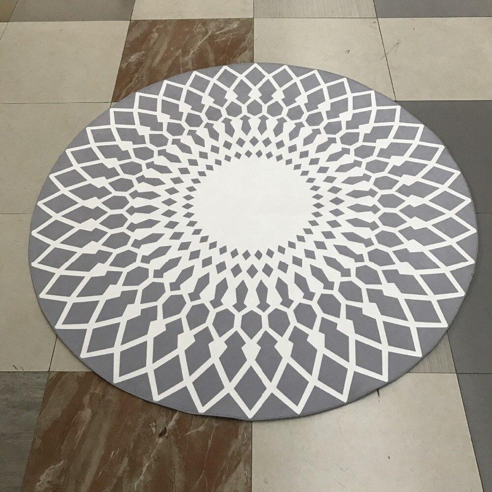 Simple Modern Geometric Round Area Rug 80c/100/120/160cm Grey White Non