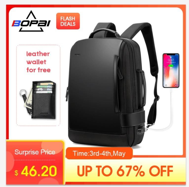 220953458c Achat BOPAI marque agrandir sac à dos USB Charge externe 15.6 pouces sac à  dos pour ordinateur portable épaules hommes Anti vol étanche voyage sac à  dos Pas ...