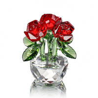 H&D X'mas Gifts Crystal Three Red Roses Figurines Paperweight Crafts&Collection Table Ornaments Souvenir Home Wedding Decorative