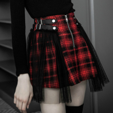 Ruibbit 2018 autumn winter wome Japanese Harajuku Black Red Plaid Gothic mini skirts